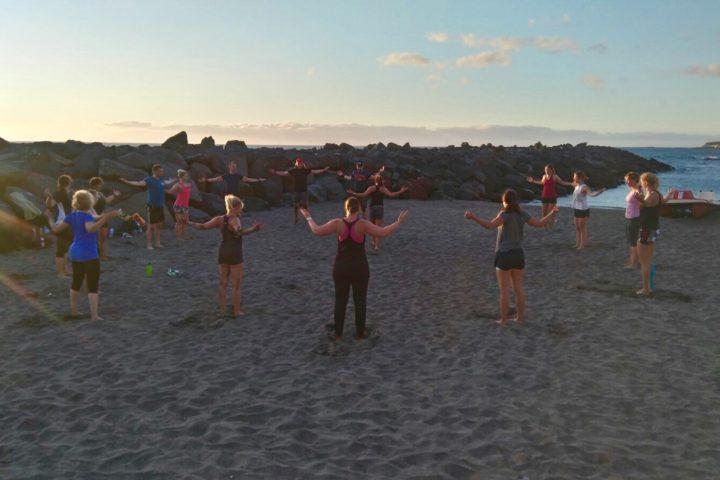 Yoga zum Sonnenuntergang
